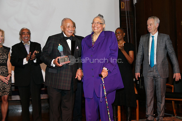 NEW YORK, NY - APRIL 3: Hon. David N. Dinkins, John McEnroe, Charles B. Rangel, Dr. Phyllis Harrison-Ross pictured as David N. Dinkins, 106th Mayor of the City of New York, receives the Dr. Phyllis Harrison-Ross Public Service Award for a lifetime of public service at the New York Society of Ethical Culture in New York City on April 3, 2014. Credit: Margot Jordan/MediaPunch