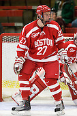 Vinny Saponari (BU - 27) - The Boston University Terriers defeated the Harvard University Crimson 6-5 in overtime on Tuesday, November 24, 2009, at Bright Hockey Center in Cambridge, Massachusetts.