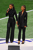 3rd February 2019, Atlanta Georgia, USA; NFL Superbowl LIII, New England Patriots versus Los Angeles Rams;  Chloe x Halle sing America the Beautiful prior to Super Bowl LIII