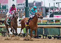 LOUISVILLE, KY - MAY 04: Monomoy Girl #14, ridden by jockey Florent Geroux, out duels Wonder Gadot #5, ridden by jockey John Velasquez, to win the Longines Kentucky Oaks at Churchill Downs on May 4, 2018 in Louisville, Kentucky. (Photo by Eric Patterson/Eclipse Sportswire/Getty Images)