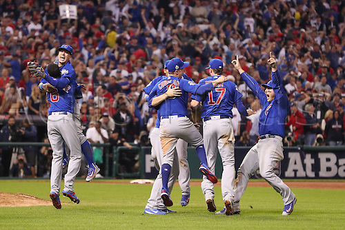 02.11.2016. Cleveland, OH, USA.  Chicago Cubs, Carl Edwards (6), Javier Baez (9), Chris Coghlan (8), Kris Bryant (17), Addison Russell (27) and Anthony Rizzo (44) celebrate after game 7 of the 2016 World Series against the Chicago Cubs and the Cleveland Indians at Progressive Field in Cleveland, OH. Chicago defeated Cleveland 8-7 in 10 innings.