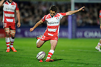 Greig Laidlaw of Gloucester Rugby takes a penalty kick during the European Rugby Challenge Cup semi final match between Gloucester Rugby and Exeter Chiefs at Kingsholm Stadium on Saturday 18th April 2015 (Photo by Rob Munro)