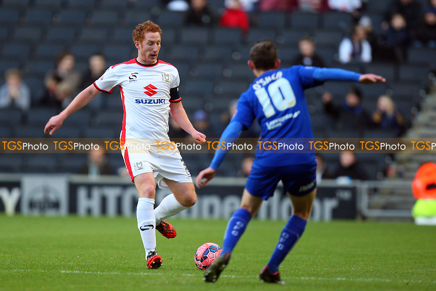 Dean Lewington of MK Dons and Jay O'Shea of Chesterfield - MK Dons vs Chesterfield - FA Cup action at the  Stadium MK on 06/12/2014 - MANDATORY CREDIT: Dave Simpson/TGSPHOTO - Self billing applies where appropriate - 0845 094 6026 - contact@tgsphoto.co.uk - NO UNPAID USE