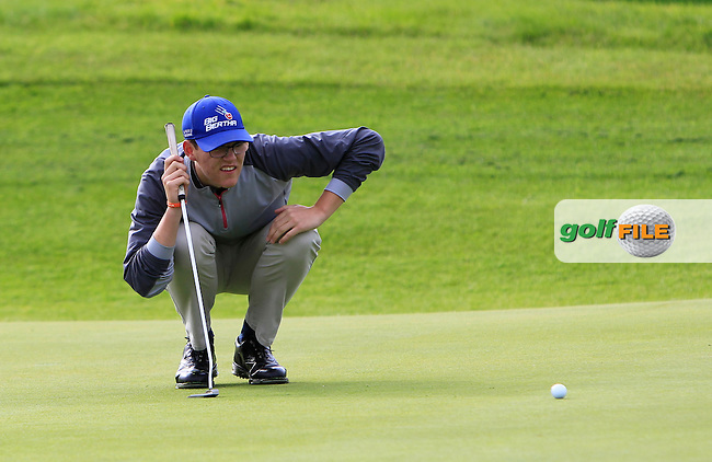 Peter O'Hara (Co. Sligo) on the 2nd green during the Under 18 Close Strokeplay of the GolfStyle Connacht Junior Close Championship Finals at Galway Bay Golf Club on Tuesday 11th August 2015.<br /> Picture:  Thos Caffrey / www.golffile.ie