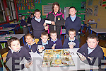 A cheque for EUR160 was presented to the Cahersiveen Hospice on Tuesday from the students of Naoimh Mhuire Boys N.S Cahersiveen, the money was raised by playing board games with the Hasbro Board Game Co sponsoring the event, pictured front l-r; John Anthony McCarthy, Blake Jackson, Darren Kelly, Ryan Sugrue, Luke Scanlon, Garry Sweeney, back l-r; Pierce McGill, Ann Bowler(Cahersiveen Hospice) & Michael Daly