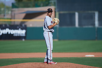 Surprise Saguaros relief pitcher Andrew Vasquez (31), of the Minnesota Twins organization, prepares to deliver a pitch to the plate during an Arizona Fall League game against the Scottsdale Scorpions on October 27, 2017 at Scottsdale Stadium in Scottsdale, Arizona. The Scorpions defeated the Saguaros 6-5. (Zachary Lucy/Four Seam Images)