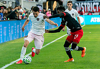 WASHINGTON, DC - MARCH 07: Oneil Fisher #91 of DC United moves in on Lewis Morgan #7 of Inter Miami during a game between Inter Miami CF and D.C. United at Audi Field on March 07, 2020 in Washington, DC.