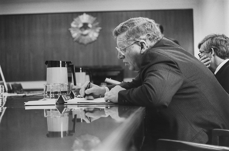 Sen. Conrad Burns, R-Mont., working in his office in February 1993. (Photo by Maureen Keating/CQ Roll Call via Getty Images)
