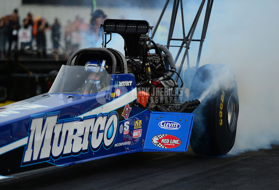 Sept. 28, 2012; Madison, IL, USA: NHRA top fuel dragster driver Keith Murt during qualifying for the Midwest Nationals at Gateway Motorsports Park. Mandatory Credit: Mark J. Rebilas-