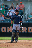 Vermont Lake Monsters catcher Jorge Gordon (9) during a NY-Penn League game against the Aberdeen IronBirds on August 18, 2019 at Leidos Field at Ripken Stadium in Aberdeen, Maryland.  Vermont defeated Aberdeen 6-5.  (Mike Janes/Four Seam Images)
