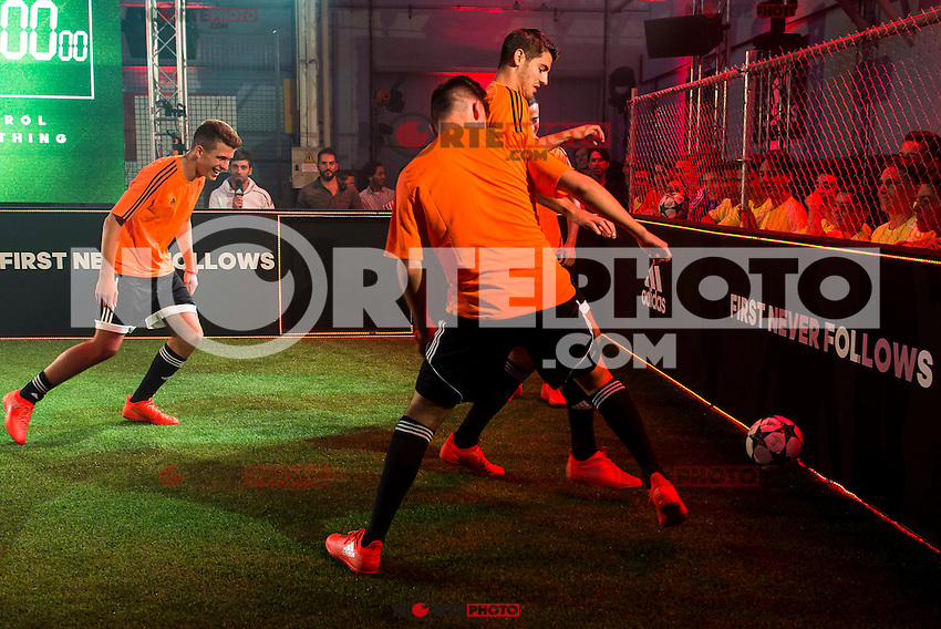 """Real Madrid player Alvaro Morata during the presentation of the new pack of Adidas football shoes """"Speed of Light"""" in Madrid. September 16, 2016. (ALTERPHOTOS/Borja B.Hojas) /NORTEPHOTO"""