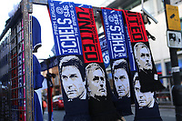 Scarves on sale of Antonio Conte, Chelsea Manager, and Manchester United Manager, Jose Mourinho on the market stalls outside the ground during Chelsea vs Manchester United, Premier League Football at Stamford Bridge on 5th November 2017
