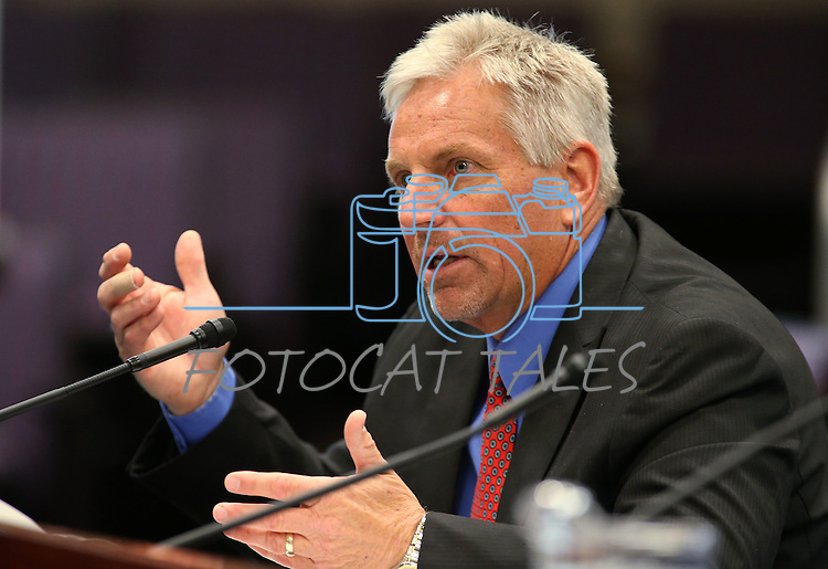 Nevada State Engineer Jason King testifies in a commitee hearing at the Legislative Building in Carson City, Nev., on Wednesday, April 22, 2015. <br /> Photo by Cathleen Allison