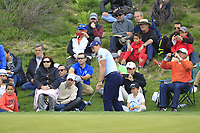 Paul Dunne (IRL) chipping onto the 1st green during Round 4 of the Open de Espana 2018 at Centro Nacional de Golf on Sunday 15th April 2018.<br /> Picture:  Thos Caffrey / www.golffile.ie<br /> <br /> All photo usage must carry mandatory copyright credit (&copy; Golffile | Thos Caffrey)