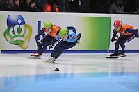 SHORTTRACK: DORDRECHT: Sportboulevard Dordrecht, 24-01-2015, ISU EK Shorttrack, 500m Men Final A, Freek VAN DER WART (NED | #52), Victor AN (RUS | #60), ©foto Martin de Jong