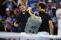 Jamie Murray (GB), MARCH 05, 2016 - Tennis : Jamie Murray (GB) jokes with his brother and doubles partner Andy Murray (GB) after winning the Davis Cup by PNB Paribas , World Group first round doubles match between Great Britain and Japan at The Barclaycard Arena, Birmingham, United Kingdom. (Photo by Rob Munro/AFLO)