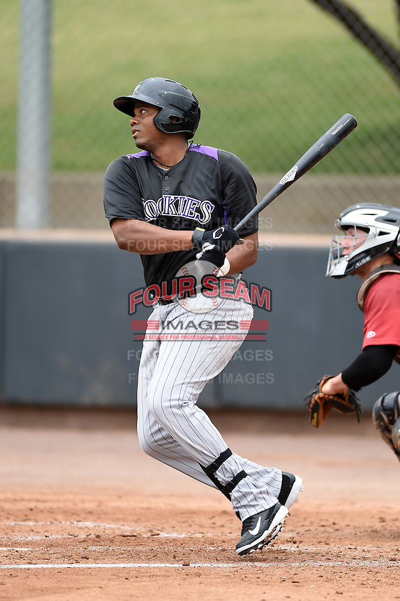 Colorado Rockies first baseman Henry Garcia (33) during an Instructional League game against the Arizona Diamondbacks on October 8, 2014 at Salt River Fields at Talking Stick in Scottsdale, Arizona.  (Mike Janes/Four Seam Images)