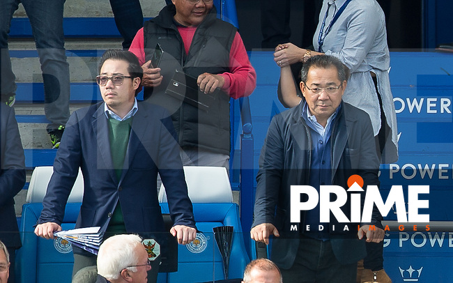 Leicester City Chairman Vichai Raksriaksorn (right) and Executive director Aiyawatt Raksriaksorn during the Premier League match between Leicester City and Southampton at the King Power Stadium, Leicester, England on 2 October 2016. Photo by Andy Rowland.