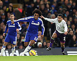 Chelsea's Willian tussles with Everton's Aaron Lennon<br /> <br /> Barclays Premier League- Chelsea vs Everton  - Stamford Bridge - England - 11th February 2015 - Picture David Klein/Sportimage