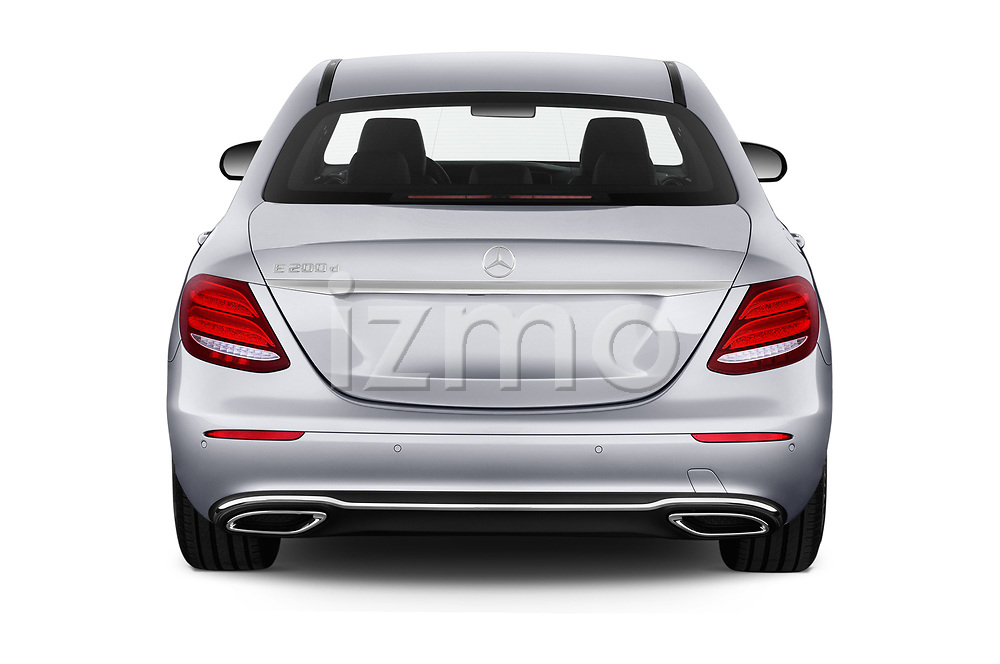 Straight rear view of a 2018 Mercedes Benz E Class Business Solution 4 Door Sedan stock images