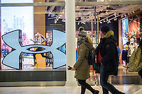 The Under Armour store in the Westfield World Trade Center Oculus mall in New York on Saturday, February 11, 2017.  Under Armour's celebrity endorsers, basketball player Steph Curry, ballet dancer Misty Copeland and actor Dwayne Johnson have expressed their displeasure with Under Armour founder and CEO Kevin Plank's pro-Trump comments.  (© Richard B. Levine)