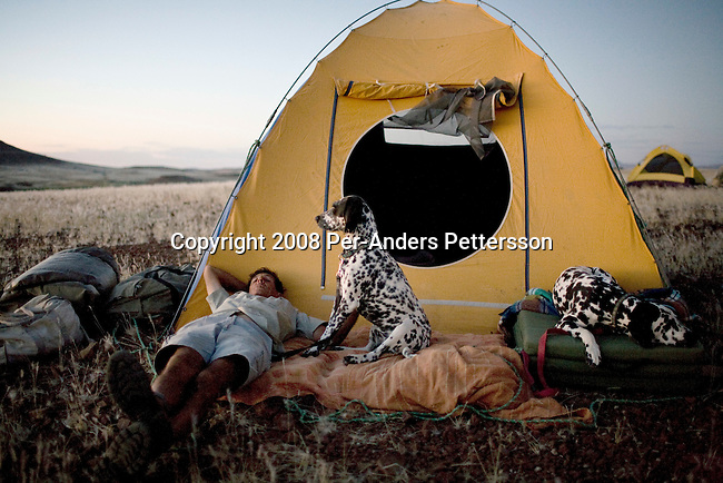 KUNENE, NAMIBIA - APRIL 26: Rudy Loutit, age 64, a park ranger, rests with his Dalmatian dogs at a campsite after a twelve hour walk on April 26, 2008 in Kunene, in Namibia. Mr. Loutit did a 2-week survey with a walking safari with camels and a crew through 155 miles of proposed parkland through the savanna at Etosha National park, through rocky badlands, across the world's oldest desert, the Namib and the blinding dunes and fogy cliffs at Skeleton Coast on the Atlantic Ocean. Rudy has worked for over three decades to save the black rhinoceros from extinction through his organization, Save The Rhino Trust. The black rhino is now brought back from certain extinction and more than one hundred fifty of them roam this remote area. (Photo by Per-Anders Pettersson)....