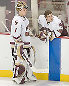 Cory Schneider, Adam Reasoner - The Boston College Eagles and University of New Hampshire earned a 3-3 tie on Thursday, March 2, 2006, on Senior Night at Kelley Rink at Conte Forum in Chestnut Hill, MA.  Boston College honored its three seniors, captain Peter Harrold and alternate captains Chris Collins and Stephen Gionta, before the game.
