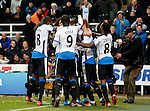 The Newcastle United team celebrating the first goal of the game- English Premier League - Newcastle Utd vs Liverpool - St James' Park - Newcastle - England - 6th of December 2015 - Picture Jamie Tyerman/Sportimage