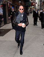 MARCH 4 ,2014- NEW YORK,NYC-Michael Keaton arrives for The Late Show With David Letterman at the Ed Sullivan Theater in New York City on March 4, 2014.<br />
