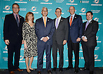 DAVIE, FL - JANUARY 28: C.E.O Tom Gartfinkel, Exc. VP of Football Administration Dawn Aponte, General Manager Dennis Hickey, Owner Stephen Ross, Head Coach Joe Philbin, Vice Chairman Matt Higgins poses for a picture after a news conference to introduce Miami Dolphins new general manager Dennis Hickey at Miami Dolphins Davie training facility on January 28, 2014 in Davie, Florida. (Photo by Johnny Louis/jlnphotography.com)