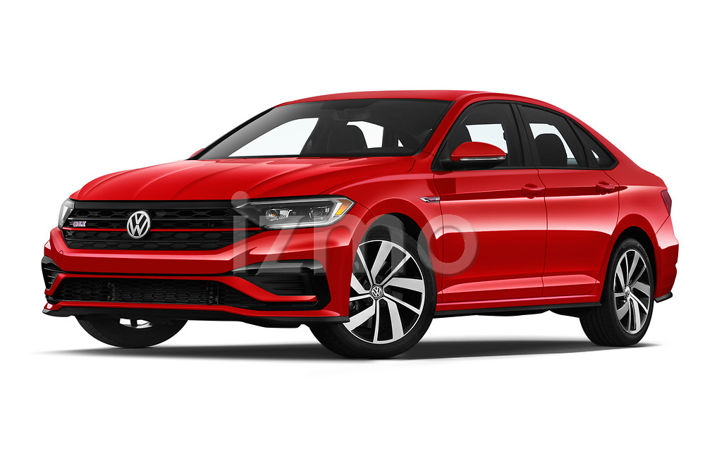 Stock pictures of low aggressive front three quarter view of a 2019 Volkswagen Jetta GLI-S 4 Door Sedan