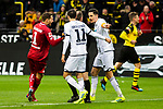 09.02.2019, Signal Iduna Park, Dortmund, GER, 1.FBL, Borussia Dortmund vs TSG 1899 Hoffenheim, DFL REGULATIONS PROHIBIT ANY USE OF PHOTOGRAPHS AS IMAGE SEQUENCES AND/OR QUASI-VIDEO<br /> <br /> im Bild | picture shows:<br /> Oliver Baumann (Hoffenheim #1) und Benjamin Huebner (Hoffenheim #21) diskutieren mit Schiedsrichter | Referee Marco Fritz über den Treffer der Dortmunder,  <br /> <br /> Foto © nordphoto / Rauch