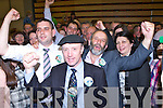 Johnny, Danny and Michael Healy Rae celebrate with their supporters in the Killlarney Electoral area on Saturday night