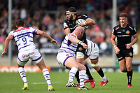 Don Armand of Exeter Chiefs takes on the Leicester Tigers defence. Gallagher Premiership match, between Exeter Chiefs and Leicester Tigers on September 1, 2018 at Sandy Park in Exeter, England. Photo by: Patrick Khachfe / JMP