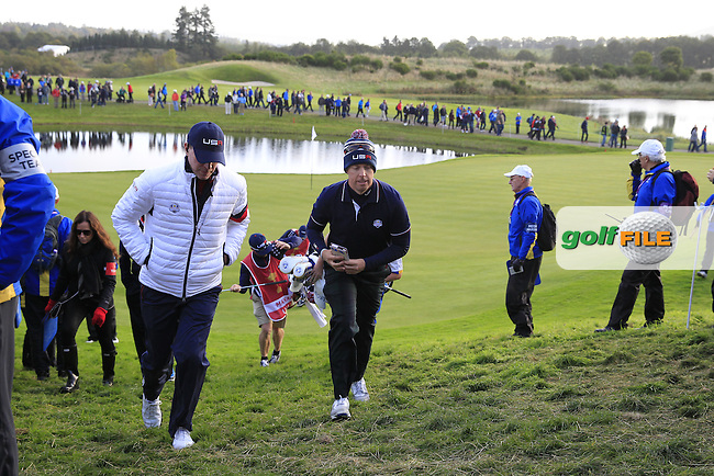 Vice Captain Steve Stricker and Hunter Mahan (USA) walk to the 3rd tee during Saturday Mornings Fourball Matches between Europe's Lee Westwood and Jamie Donaldson and USA's Hunter Mahan and Jim Furyk of the Ryder Cup 2014 played on the PGA Centenary Course at the Gleneagles Hotel, Auchterarder, Scotland.: Picture Eoin Clarke, www.golffile.ie : 27th September 2014