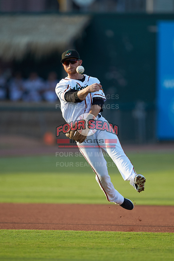 Down East Wood Ducks shortstop Ryan Dorow (8) makes a throw to first base against the Winston-Salem Dash at Grainger Stadium Field on May 17, 2019 in Kinston, North Carolina. The Dash defeated the Wood Ducks 8-2. (Brian Westerholt/Four Seam Images)