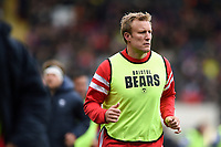 Jordan Crane of Bristol Bears looks on from the sidelines. Gallagher Premiership match, between Leicester Tigers and Bristol Bears on April 27, 2019 at Welford Road in Leicester, England. Photo by: Patrick Khachfe / JMP