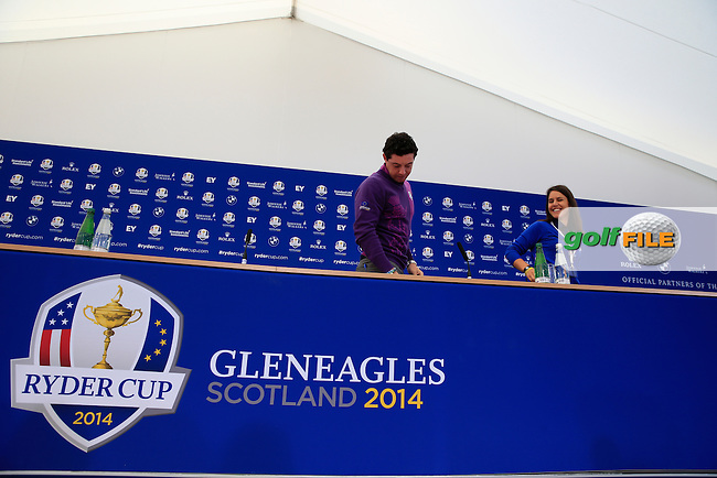 Rory Mcilroy (EUR) during there media interview ahead of practice on wednesday at the 40th Ryder Cup, The Gleneagles Hotel, Perthshire from 26th to 28th September 2014<br /> Picture Fran Caffrey, www.golffile.ie