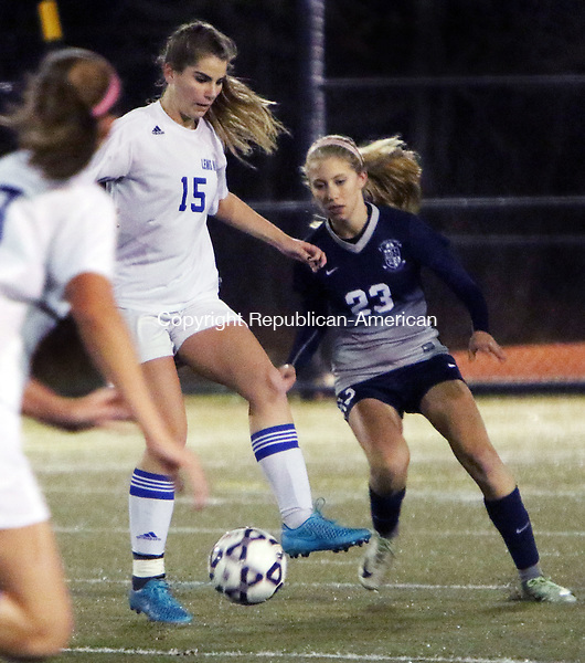 WATERBURY CT. 14 November 2016-110816SV11-#15 Julia Robillard of Lewis Mills tries to keep the ball from #23 Avery Jarboe of Immaculate during CIAC Class M semifinals at Municipal Stadium in Waterbury Monday.<br /> Steven Valenti Republican-American