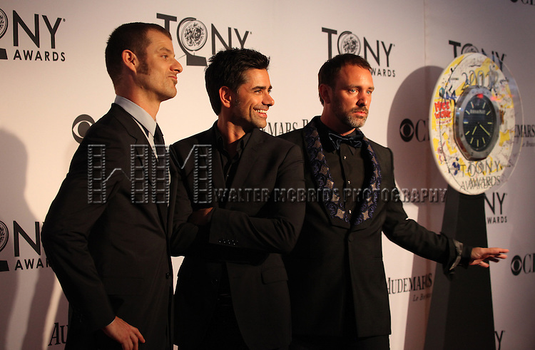Trey Parker, John Stamos and Matt Stone pictured at the 66th Annual Tony Awards held at The Beacon Theatre in New York City , New York on June 10, 2012. © Walter McBride / WM Photography