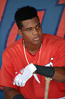 GCL Nationals center fielder Edwin Ventura (15) in the dugout before the first game of a doubleheader against the GCL Mets on July 22, 2017 at The Ballpark of the Palm Beaches in Palm Beach, Florida.  GCL Mets defeated the GCL Nationals 1-0 in a seven inning game that originally started on July 17th.  (Mike Janes/Four Seam Images)