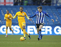 Preston North End's Daniel Johnson in action with Sheffield Wednesday's Adam Reach <br /> <br /> Photographer Mick Walker/CameraSport<br /> <br /> The EFL Sky Bet Championship - Sheffield Wednesday v Preston North End - Saturday 22nd December 2018 - Hillsborough - Sheffield<br /> <br /> World Copyright &copy; 2018 CameraSport. All rights reserved. 43 Linden Ave. Countesthorpe. Leicester. England. LE8 5PG - Tel: +44 (0) 116 277 4147 - admin@camerasport.com - www.camerasport.com