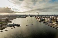 021 190110 Dronebilleder af Den lille  Havfrue, Kastellet, Amager Bakke, Papir&oslash;en, Skuespilhuset, Amalienborg og Inderhavnsbroen.<br /> Foto: Jens Panduro
