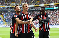 celebrate the goal, Torjubel zum 1:0 von Martin Hinteregger (Eintracht Frankfurt) mit David Abraham (Eintracht Frankfurt), Danny da Costa (Eintracht Frankfurt) - 18.08.2019: Eintracht Frankfurt vs. TSG 1899 Hoffenheim, Commerzbank Arena, 1. Spieltag Saison 2019/20 DISCLAIMER: DFL regulations prohibit any use of photographs as image sequences and/or quasi-video.