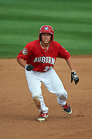 Auburn Doubledays designated hitter Jake Jefferies (23) running the bases during a game against the Batavia Muckdogs on September 7, 2015 at Falcon Park in Auburn, New York.  Auburn defeated Batavia 11-10 in ten innings.  (Mike Janes/Four Seam Images)