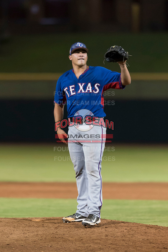 AZL Rangers relief pitcher Tyler Cohen (55) during an Arizona League game against the AZL Giants Black at Scottsdale Stadium on August 4, 2018 in Scottsdale, Arizona. The AZL Giants Black defeated the AZL Rangers by a score of 6-3 in the second game of a doubleheader. (Zachary Lucy/Four Seam Images)