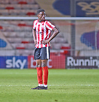 Lincoln City U18's Jordan Adebayo-Smith<br /> <br /> Photographer Andrew Vaughan/CameraSport<br /> <br /> The FA Youth Cup Second Round - Lincoln City U18 v South Shields U18 - Tuesday 13th November 2018 - Sincil Bank - Lincoln<br />  <br /> World Copyright © 2018 CameraSport. All rights reserved. 43 Linden Ave. Countesthorpe. Leicester. England. LE8 5PG - Tel: +44 (0) 116 277 4147 - admin@camerasport.com - www.camerasport.com