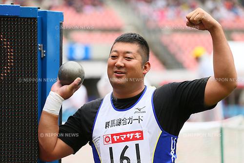 Satoshi Hatase, <br /> JUNE 28, 2015 - Athletics : <br /> The 99th Japan Track &amp; Field National Championships <br /> Men's Shot Put Final <br /> at Denka Big Swan Stadium, Niigata, Japan. <br /> (Photo by YUTAKA/AFLO SPORT)