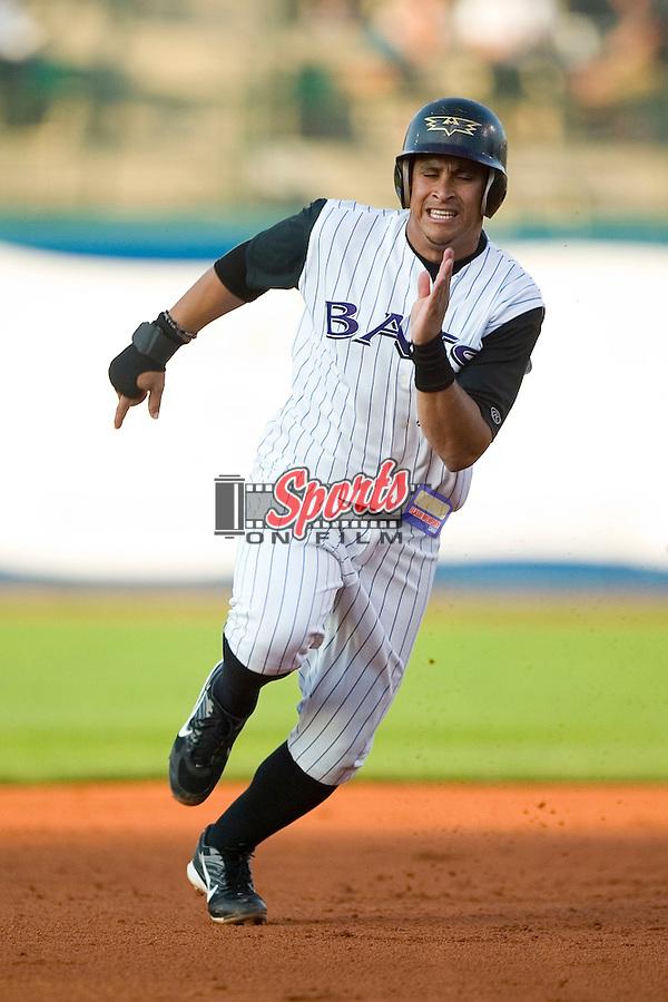 Louisville shortstop Pedro Lopez (27) hustles towards third base versus Charlotte at Louisville Slugger Field in Louisville, KY, Tuesday, June 5, 2007.