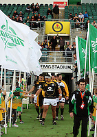 Wellington reserves Arden David-Perrot, Scott Fuglistaller and Ged Robinson walk out onto the field during the Air NZ Cup preseason match between Manawatu Turbos and Wellington Lions at FMG Stadium, Palmerston North, New Zealand on Friday, 17 July 2009. Photo: Dave Lintott / lintottphoto.co.nz